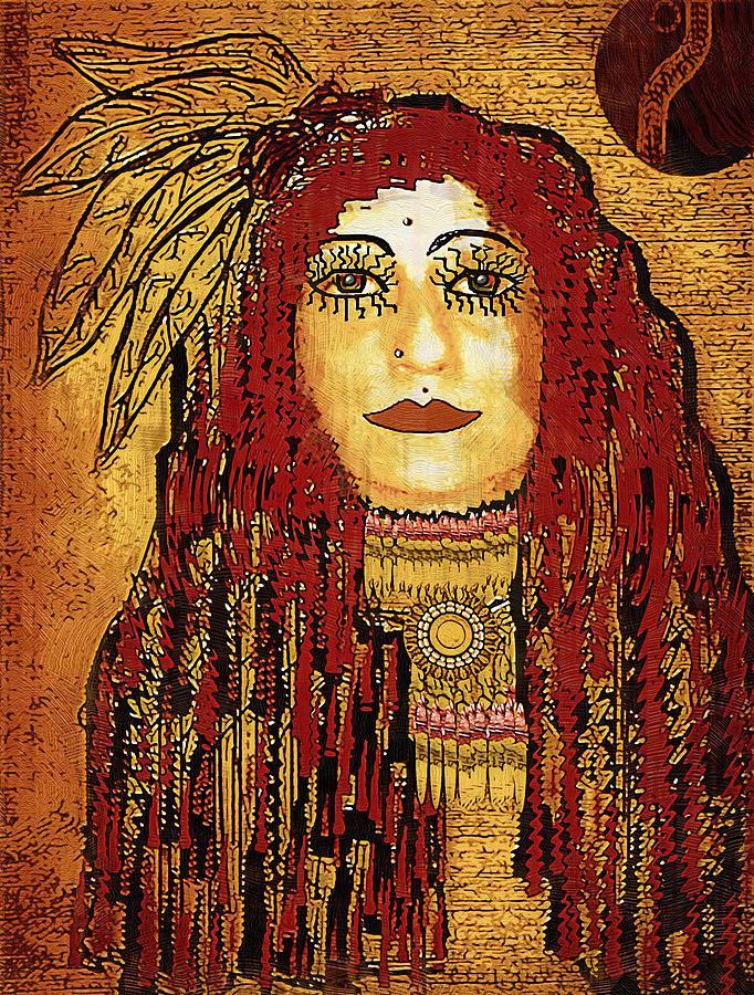 Cheyenne Mixed Media - Cheyenne Woman Warrior by Pepita Selles