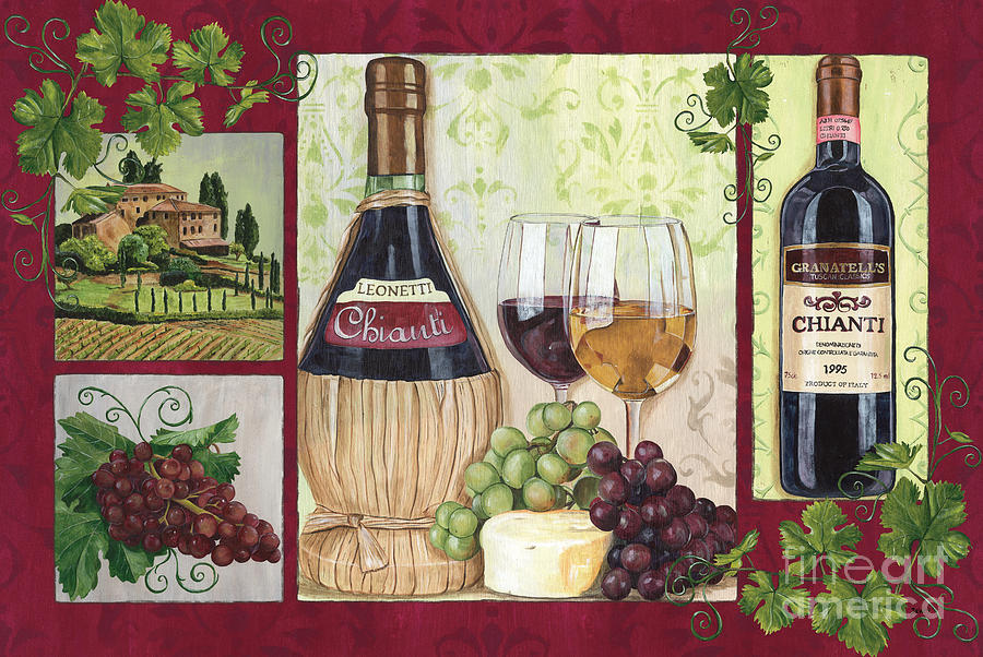 Wine Painting - Chianti And Friends 2 by Debbie DeWitt
