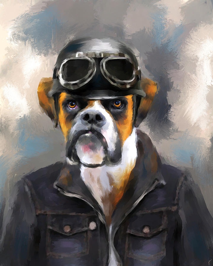 Chic Boxer Aviator Painting  - Chic Boxer Aviator Fine Art Print