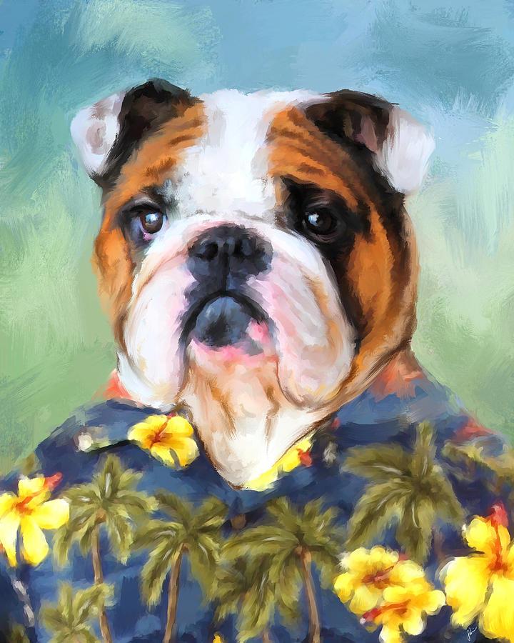 Chic English Bulldog Painting by Jai Johnson