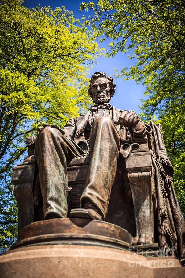 Chicago Abraham Lincoln Sitting Statue Photograph