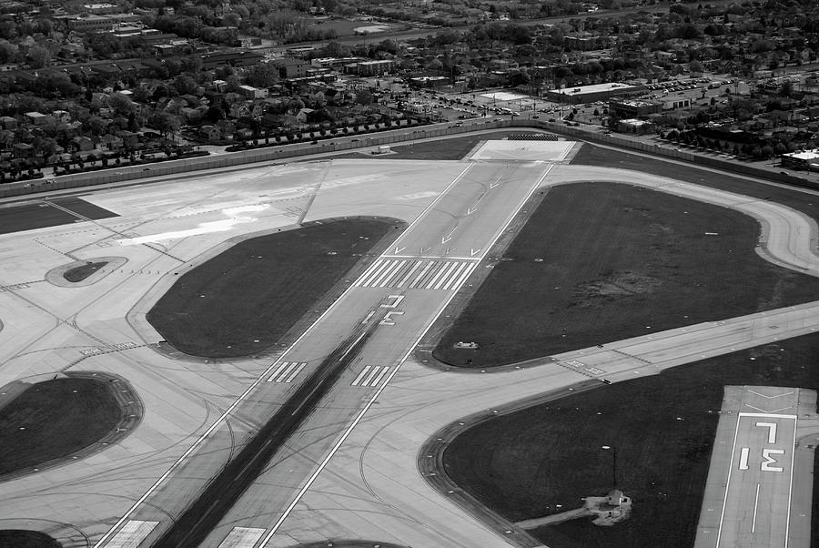 Chicago Airplanes 04 Black And White Photograph  - Chicago Airplanes 04 Black And White Fine Art Print