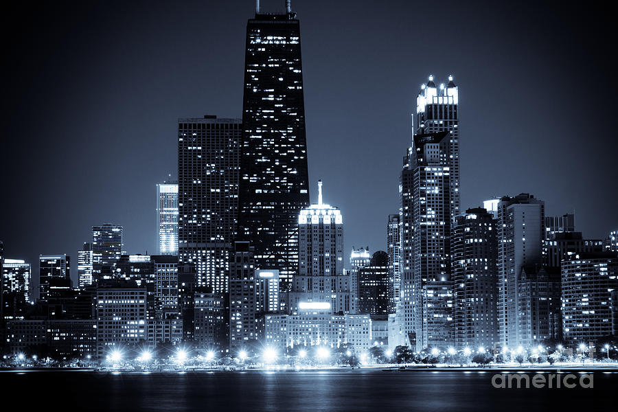 Chicago At Night With Hancock Building Photograph