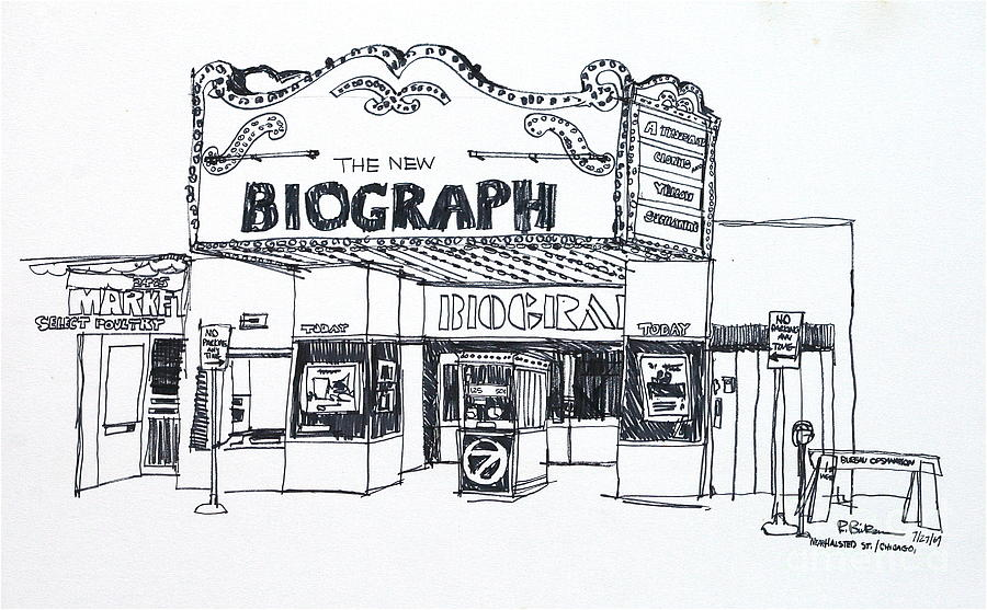 Chicago Biograph Theater Drawing  - Chicago Biograph Theater Fine Art Print