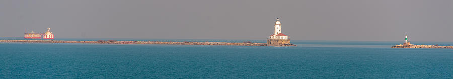 Chicago Breakwater And Lighthouse Photograph