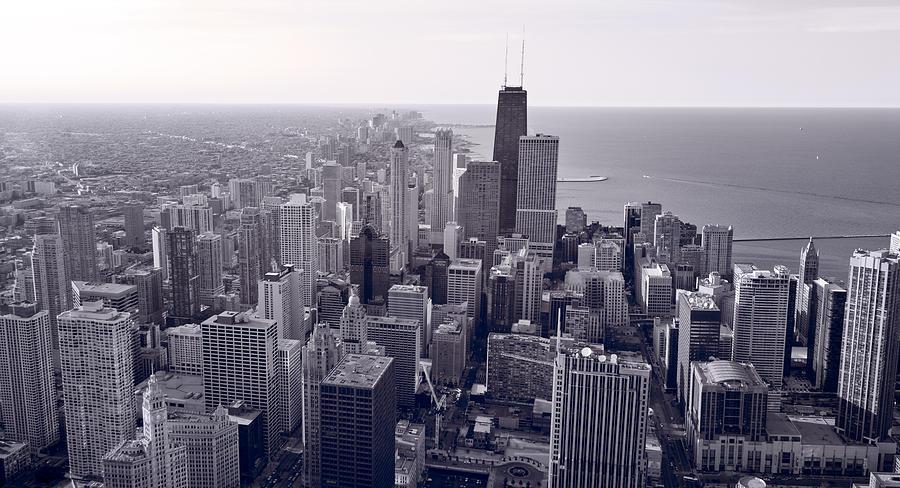 Aerial Photograph - Chicago Bw by Steve Gadomski