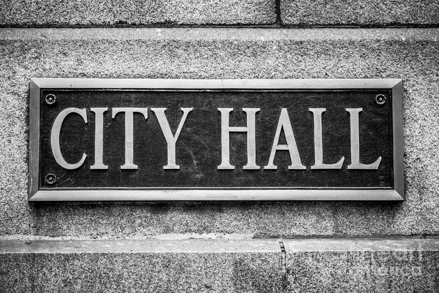 Chicago City Hall Sign In Black And White Photograph