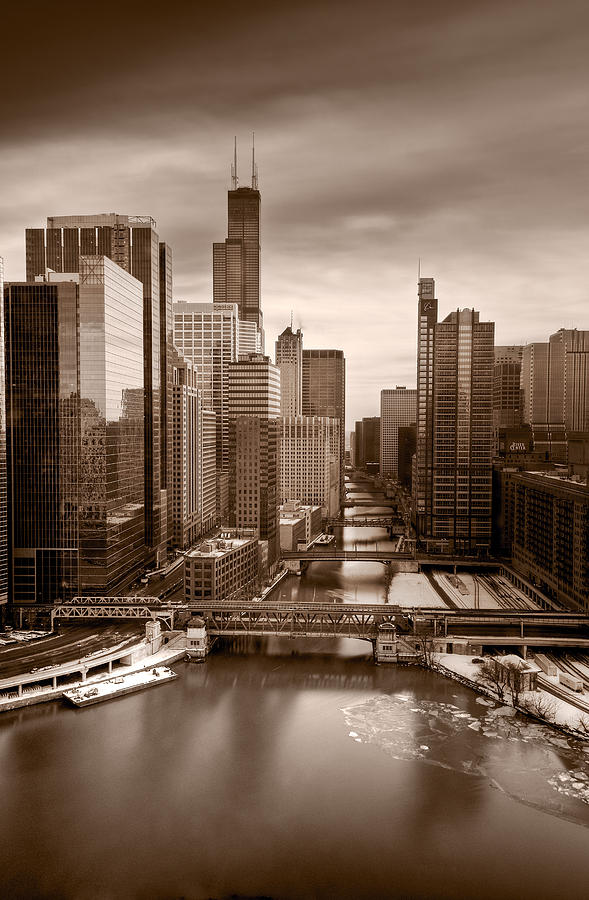 Train Photograph - Chicago City View Afternoon B And W by Steve Gadomski