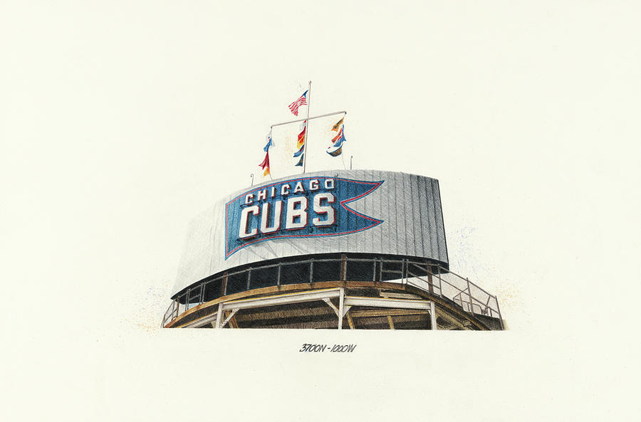 Chicago Cubs Scoreboard Drawing
