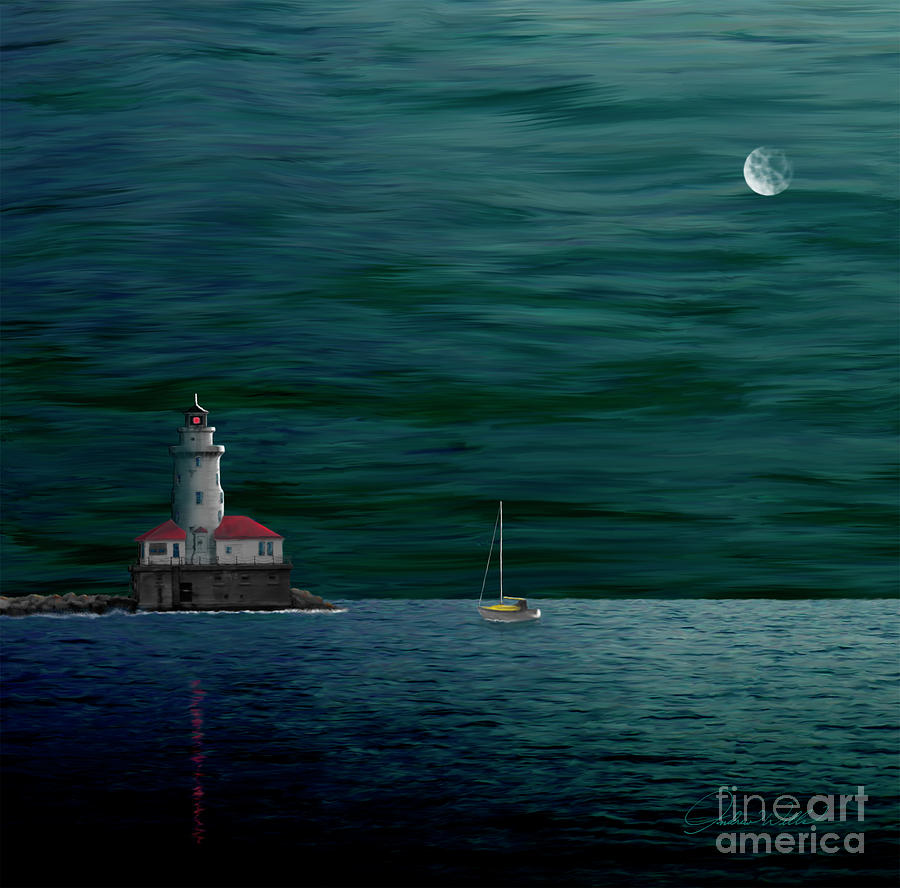 Chicago Harbor Lighthouse Painting  - Chicago Harbor Lighthouse Fine Art Print