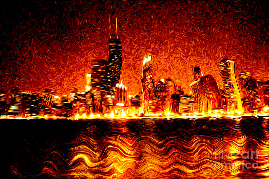 Chicago Hell Digital Painting Photograph  - Chicago Hell Digital Painting Fine Art Print