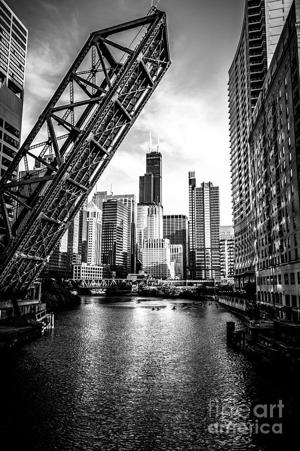 Chicago Kinzie Street Bridge Black And White Picture Photograph