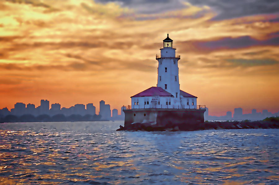 Chicago Lighthouse Impression Digital Art  - Chicago Lighthouse Impression Fine Art Print