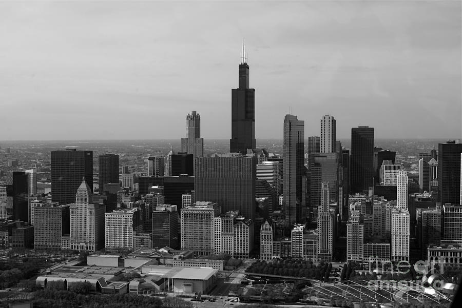Chicago Looking West 01 Black And White Photograph
