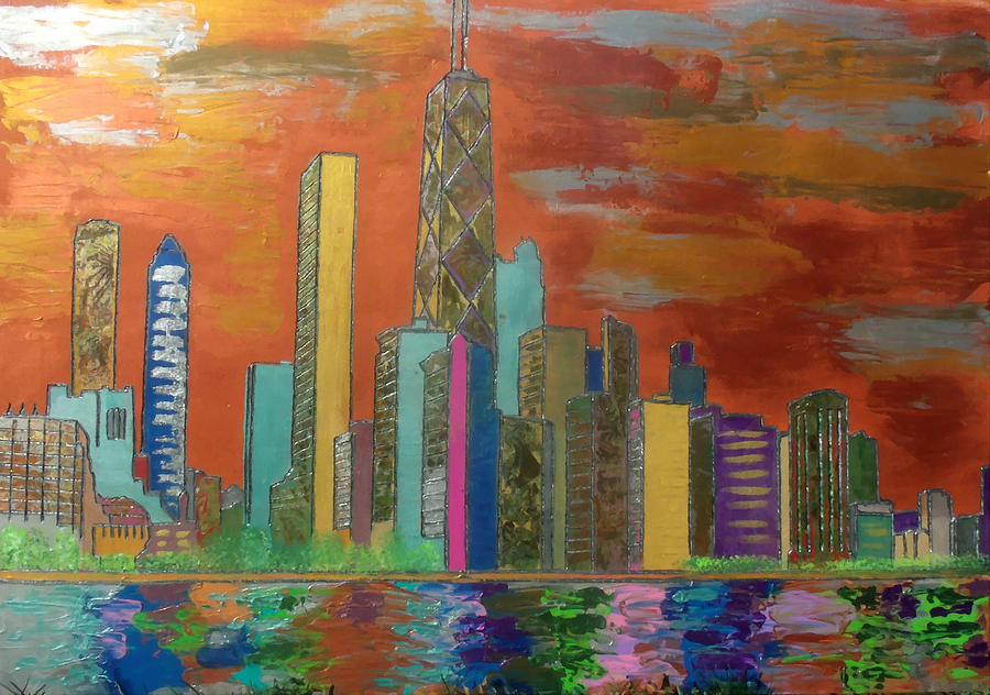 Chicago Metallic Skyline Painting  - Chicago Metallic Skyline Fine Art Print