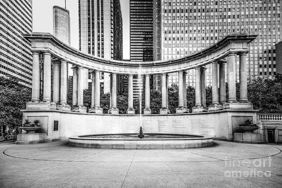 Chicago Millennium Monument In Black And White Photograph  - Chicago Millennium Monument In Black And White Fine Art Print