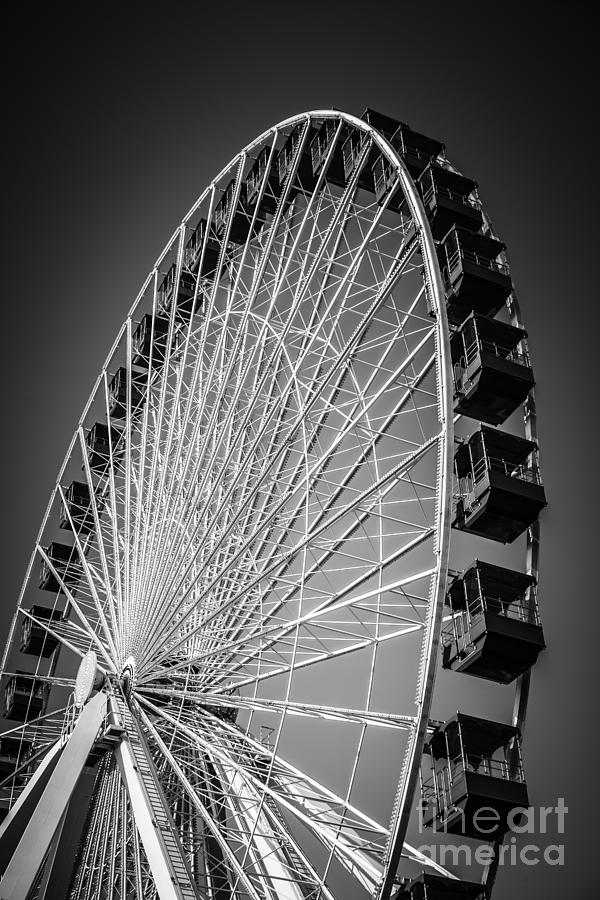 Chicago Navy Pier Ferris Wheel In Black And White Photograph