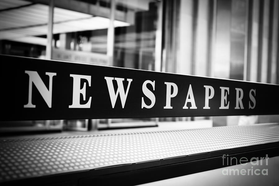 Chicago Newspapers Stand Sign In Black And White Photograph