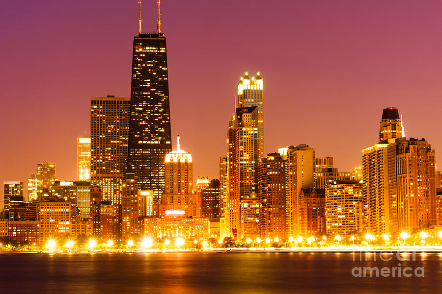 Chicago Night Skyline With John Hancock Building Photograph  - Chicago Night Skyline With John Hancock Building Fine Art Print
