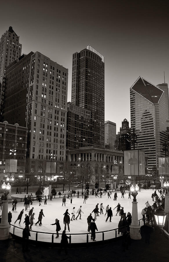 Chicago Park Skate Bw Photograph