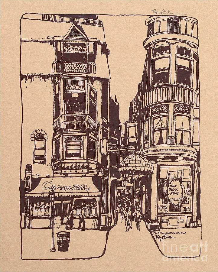 Chicago. Pipers Alley On Wells Street Drawing