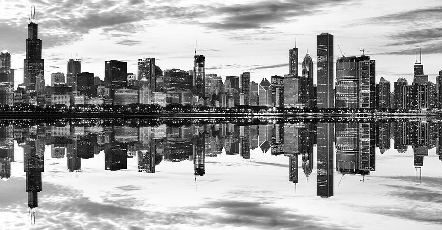 Chicago Reflection Panorama Photograph