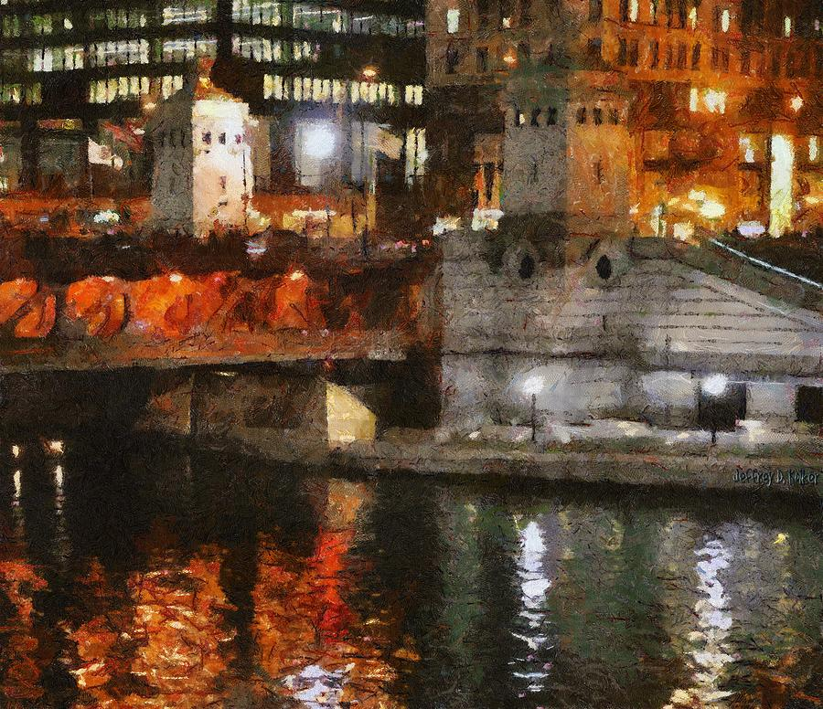 Chicago River At Michigan Avenue Painting  - Chicago River At Michigan Avenue Fine Art Print