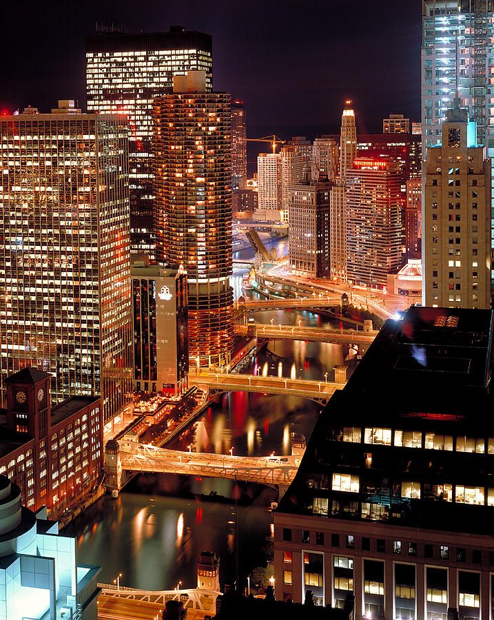 Chicago River At Night Photograph