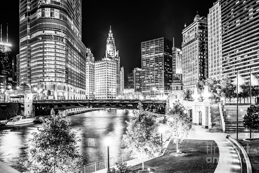 Chicago River Buildings At Night In Black And White Photograph  - Chicago River Buildings At Night In Black And White Fine Art Print