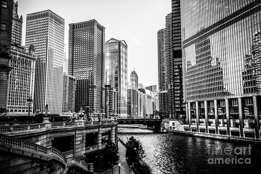 Chicago River Buildings In Black And White Photograph