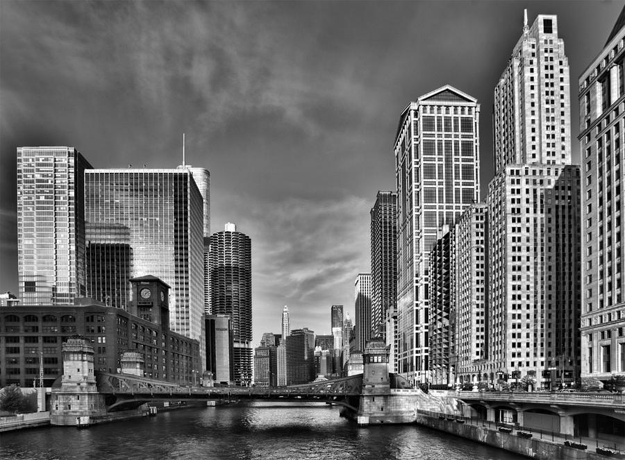 Chicago River In Black And White Photograph