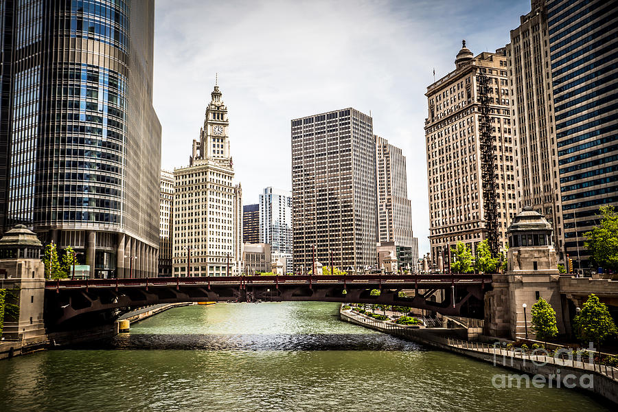 Chicago River Skyline At Wabash Avenue Bridge Photograph  - Chicago River Skyline At Wabash Avenue Bridge Fine Art Print