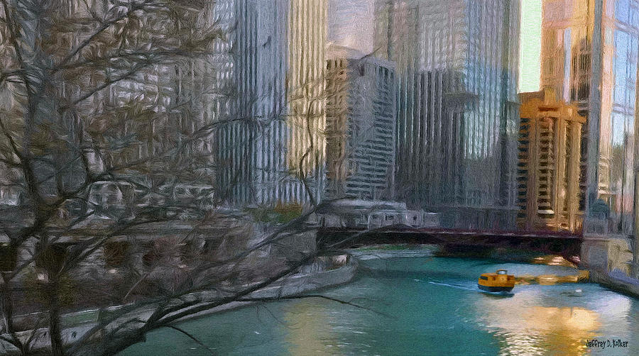 Chicago River Sunset Painting