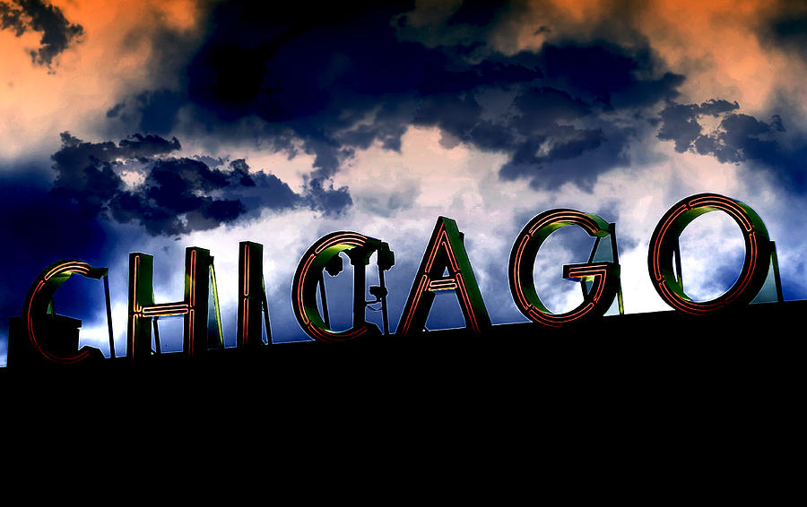 Chicago Sign Sunset Photograph