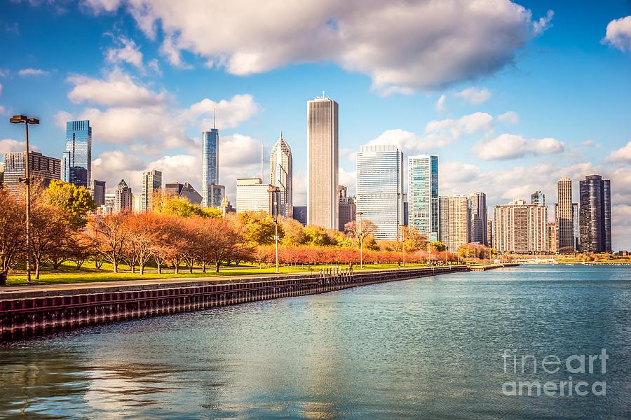 Chicago Skyline And Lake Michigan Photo Photograph