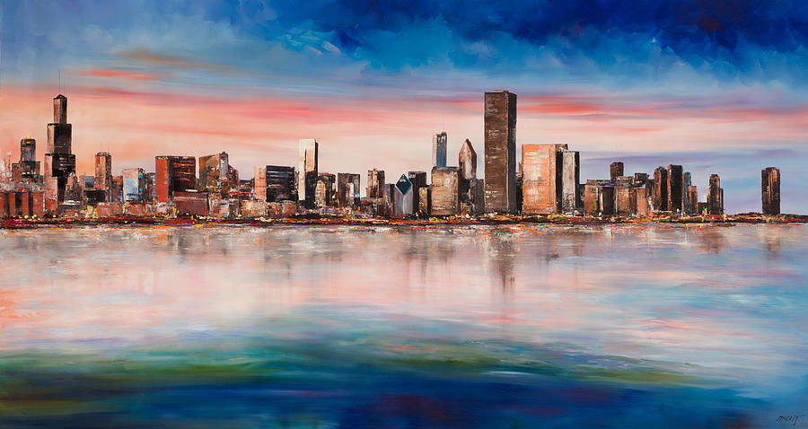 Chicago Skyline At Dusk Painting By Manit