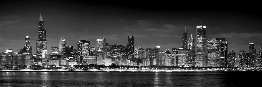 Chicago Skyline At Night Black And White Photograph  - Chicago Skyline At Night Black And White Fine Art Print