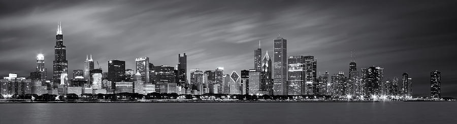 3scape Photos Photograph - Chicago Skyline At Night Black And White Panoramic by Adam Romanowicz