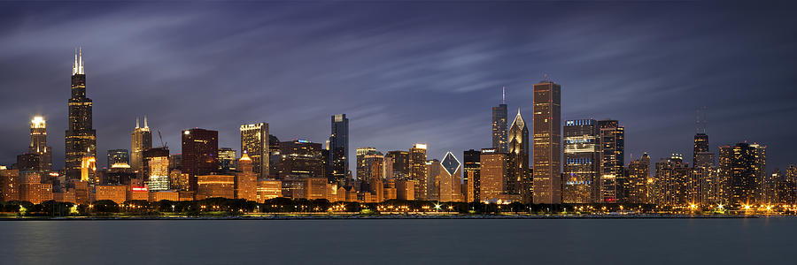 Chicago Skyline At Night Color Panoramic Photograph  - Chicago Skyline At Night Color Panoramic Fine Art Print