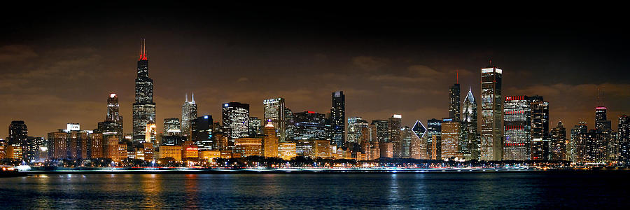 Chicago Skyline At Night Panorama Color 1 To 3 Ratio Photograph