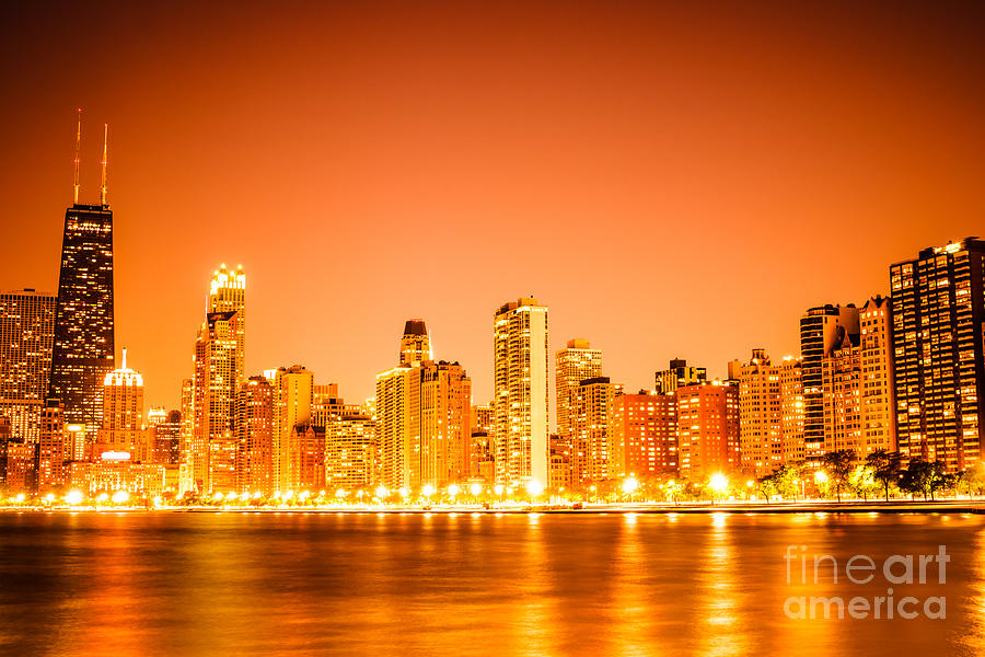 Chicago Skyline At Night With Orange Sky Photograph