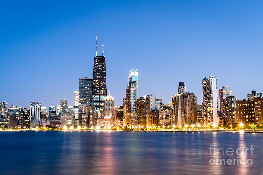 Chicago Skyline At Twilight Photograph