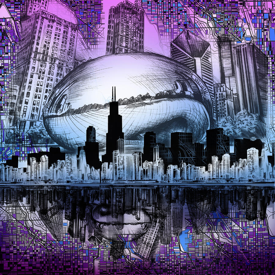 Chicago Skyline Drawing Collage 2 Drawing By Bekim Art