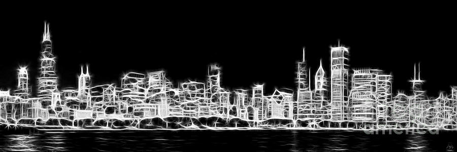 Chicago Skyline Fractal Black And White 2 Photograph  - Chicago Skyline Fractal Black And White 2 Fine Art Print