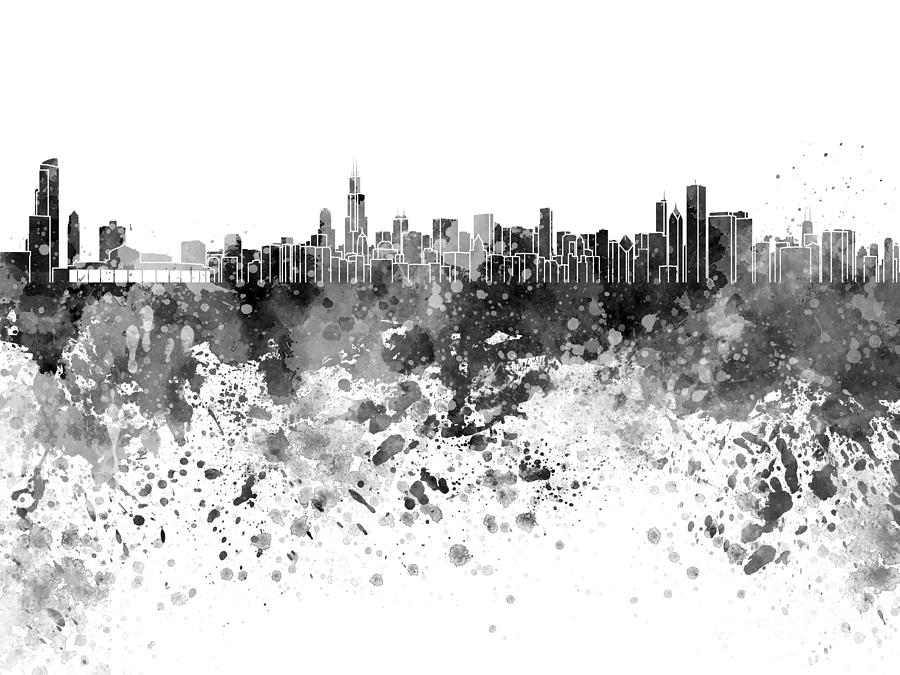 Chicago Skyline In Black Watercolor On White Background