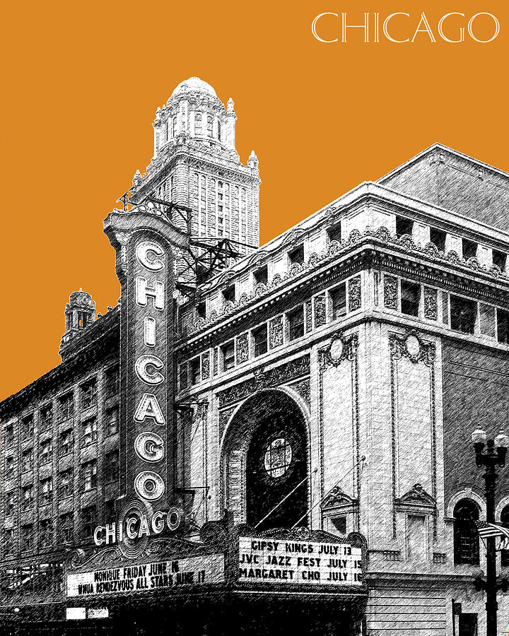 Architecture Digital Art - Chicago Theater - Dark Orange by DB Artist