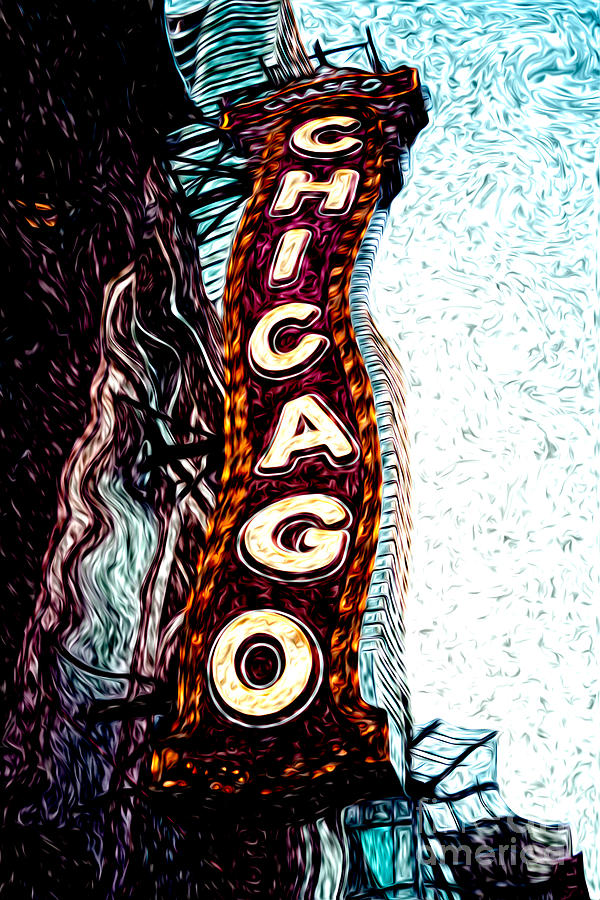 Chicago Theatre Sign Digital Art Photograph  - Chicago Theatre Sign Digital Art Fine Art Print