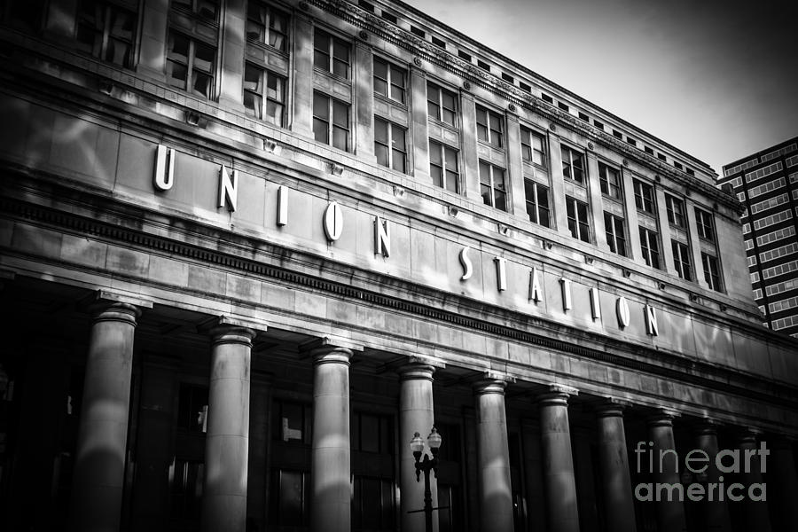 Chicago Union Station In Black And White Photograph