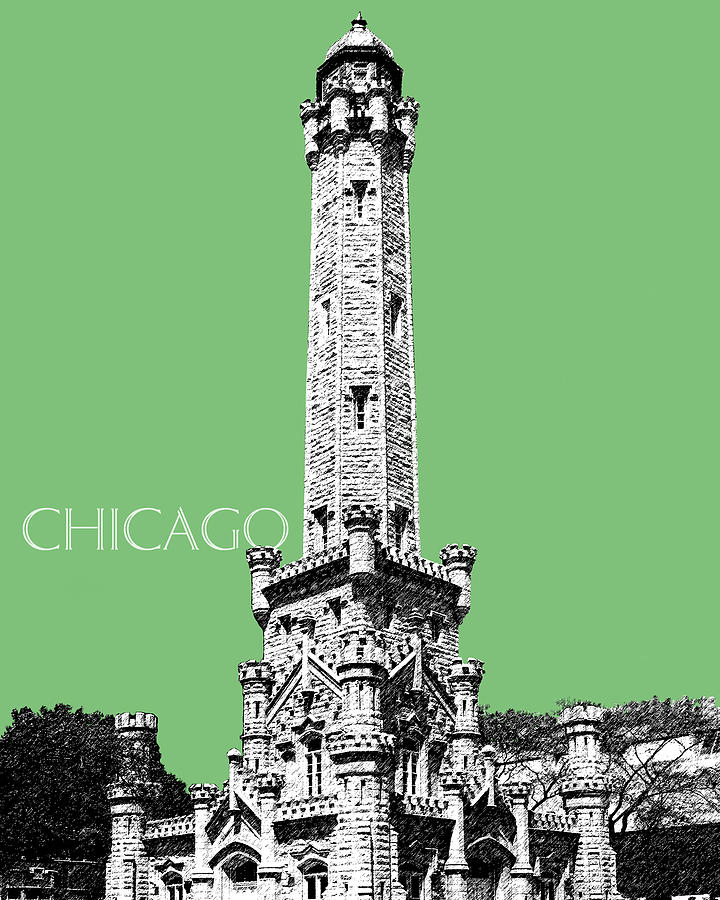 Architecture Digital Art - Chicago Water Tower - Apple by DB Artist