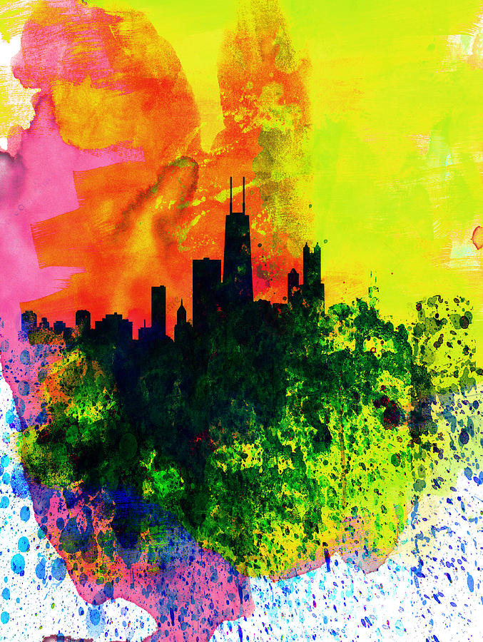 Chicago Watercolor Skyline Painting